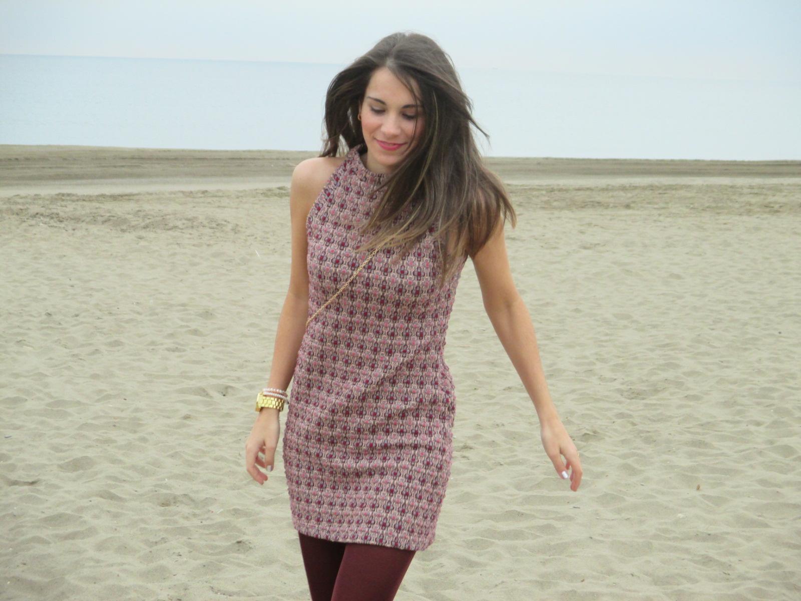 Vestido Zara granate